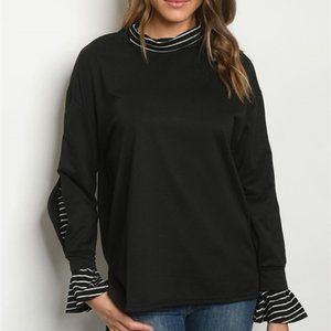 Black Cowl Neck Sweater Stripe Collar & Cuffs NWT